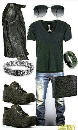 Men Black Edgy Casual Outfit Like Some Pieces This