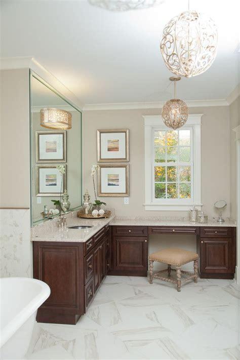 brown bathroom   shaped vanity  brown top brown