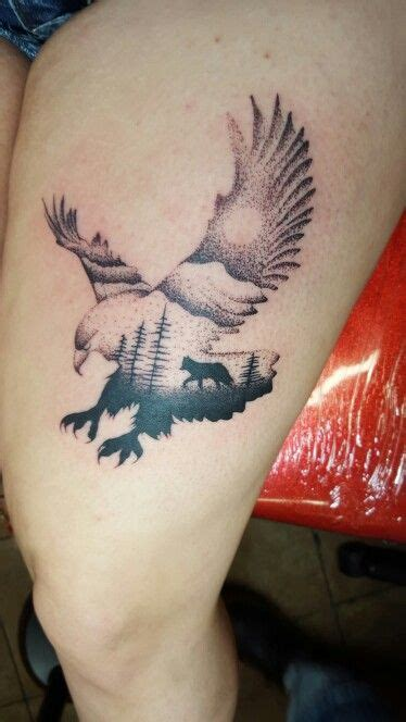 wolf  eagle tattoo tattoos leg tattoos eagle