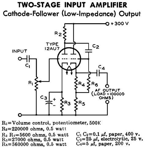 Ecc Cathode Follower Tube Preamplifier Schematic