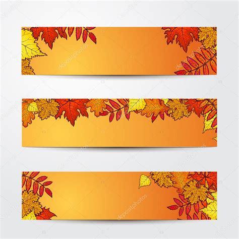 set of banner templates with maple oak rowan fall leaves stock vector 169 sabelskaya 122503786