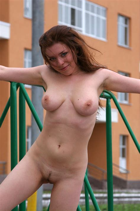 Russian Redhead Chick With Tattoo Posing Naked At Yard Russian Sexy Girls