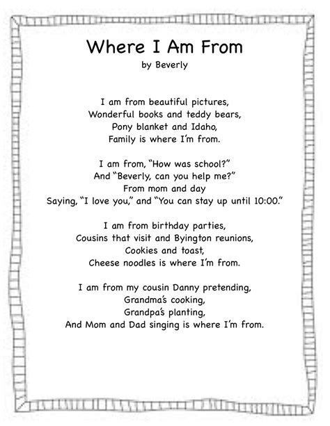where i m from poem template pdf forever in where i m from freebie
