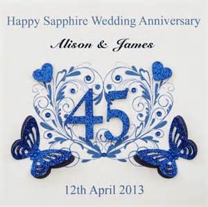 45 wedding anniversary personalised handmade sapphire wedding anniversary card 45 years ebay