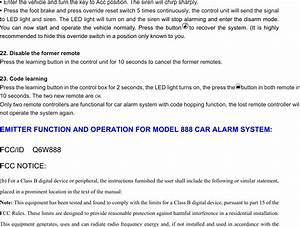 Steelmate 888a Car Alarm System User Manual Fcc 888manual