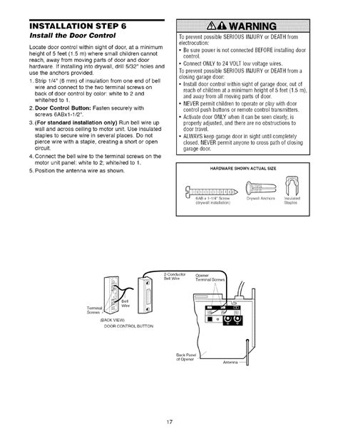 installation step  install  door control warning craftsman  hp garage door opener