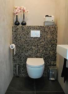 chouette les wc avec un mur en carreaux casses With carrelage adhesif salle de bain avec lit led gris