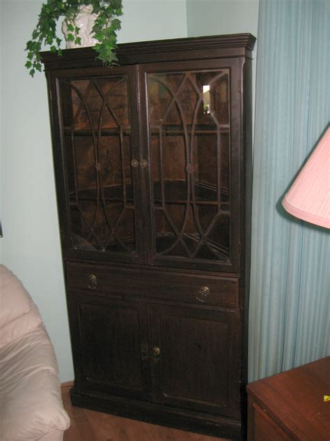 Mid Century Cabinet Pulls by Sold Antique Corner China Cabinet 1945 Made In Canada