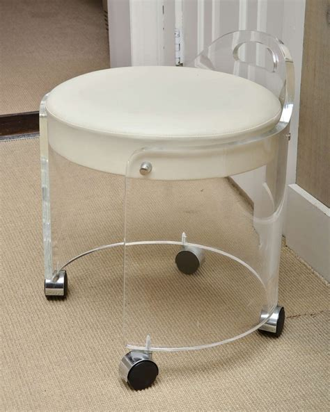 vanity chair with wheels vintage lucite vanity stool by charles hollis jones