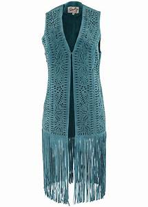 Scully Suede Laser Fringe Vest Turquoise Pinto Ranch