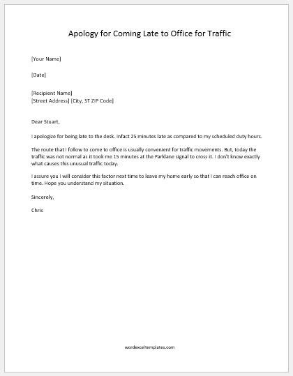 apology letter   late   traffic word