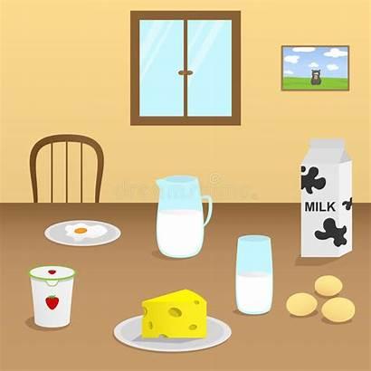 Table Dining Illustration Vector Dairy Wooden Dinner