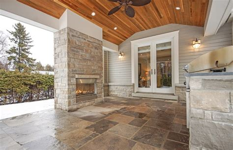 covered porch with built in fireplace and bbq with images