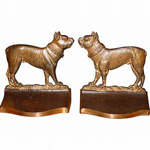 Cast iron terriers dog bookends Bradley