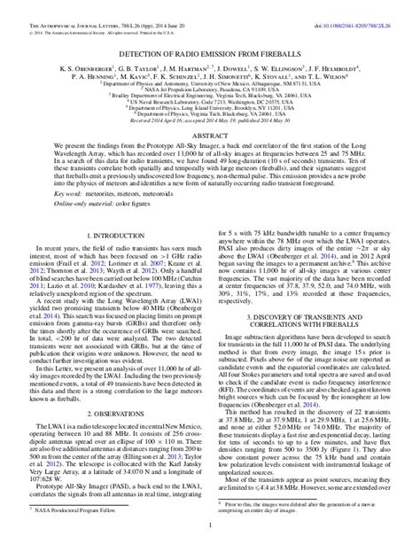 astrophysical journal letters detection of radio emission from fireballs 24572