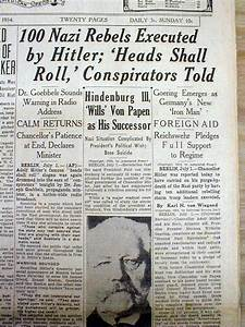 1934 newspaper HITLER MURDERS HIS NAZI RIVALS + Doctor to ...
