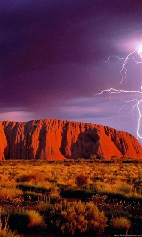 lightning  ayers rock uluru australia  wallpapers