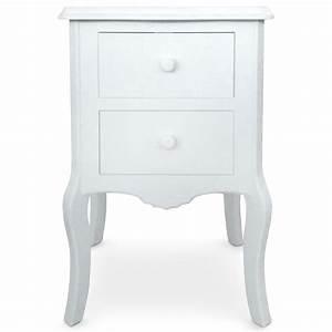 Table Chevet Blanc : table de chevet 2 tiroirs retro blanc ~ Teatrodelosmanantiales.com Idées de Décoration