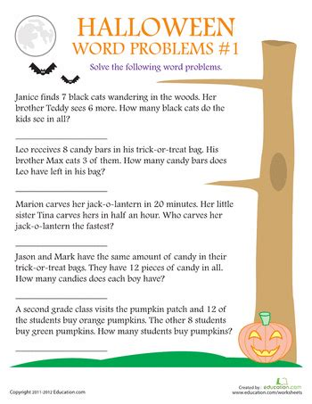 halloween word problems encourage your children to have a