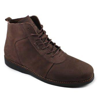 sauqi brodo sepatu boots pria kulit asli cokelat