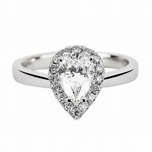 platinum certified pear cut diamond diamond surround With pear shaped diamond wedding rings