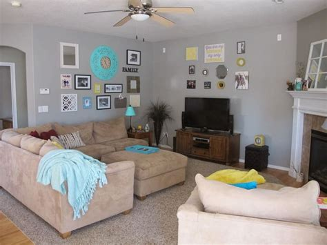 gray yellow and turquoise living room home is where