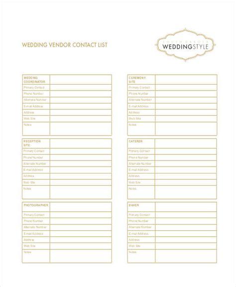 Wedding Vendor Checklist Template by Wedding Vendor Contact List Excel Driverlayer Search Engine