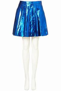 topshop metallic pleated skirt in bright blue blue lyst