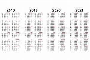 Jahreskalender 2018 2019 : kalender 2018 bis 2021 jahrelang stock vektor colourbox ~ Jslefanu.com Haus und Dekorationen