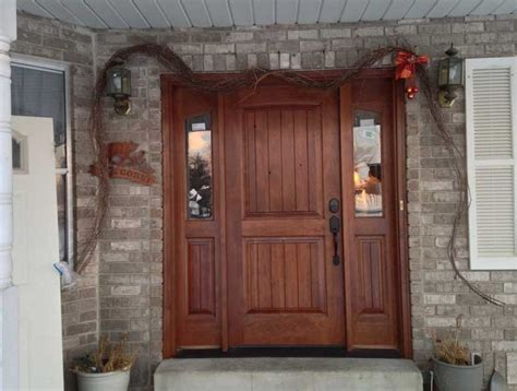 Wood Front Door With Door by Rustic Home Exterior Wood Front Door With Side Windows