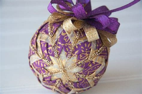 quilted christmas ornament ball purple and gold holiday