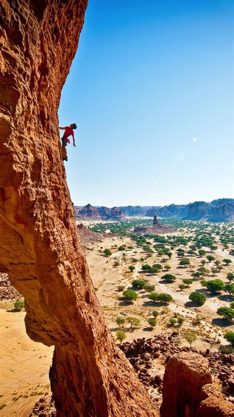 mountaineers rock climbing shrubs formations chad country