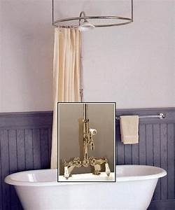 Clawfoot Tub Deckmount Round Shower Enclosure Combo W Leg