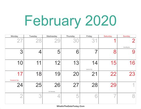 february calendar printable holidays whatisthedatetodaycom