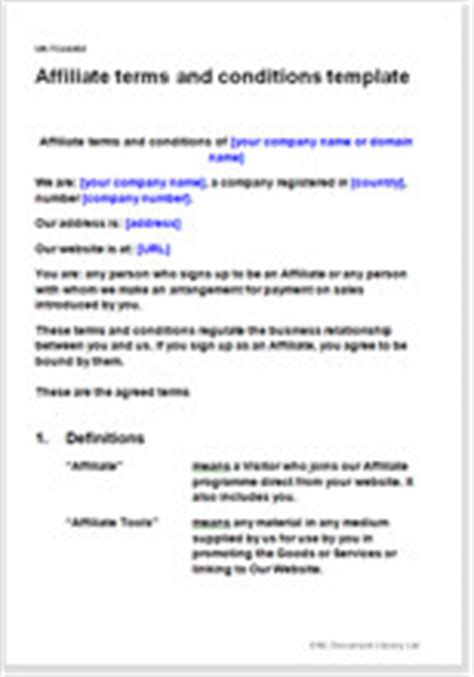 affiliate terms  conditions template affiliate contract