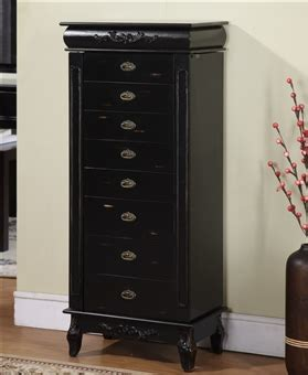 Black Standing Jewelry Armoire by Large Black Antique Style Jewelry Armoire With Eight Drawers