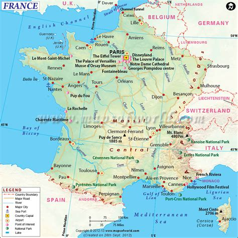 map  france shows roads airports national capital