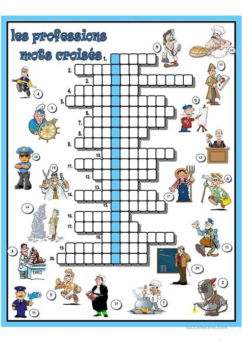 les professions mots croisés fiche d 39 exercices fiches