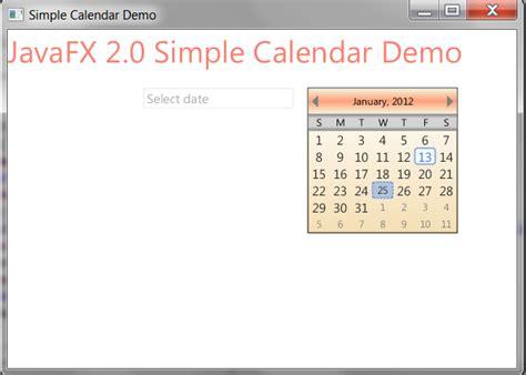 javafx widgets simple calendar  javafx