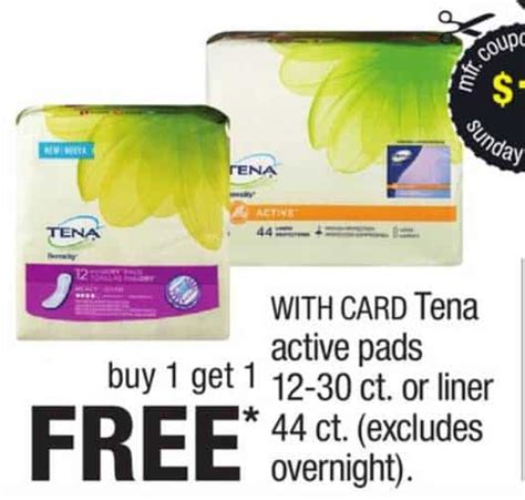 43209 Out Pads Coupons by Printable Coupons And Deals Tena Incontinence Liners And