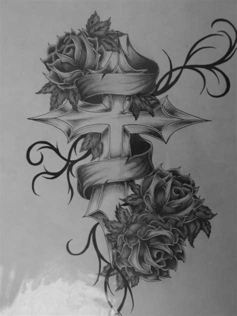 Cross with roses tattoo | TATOOS