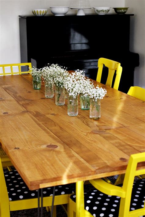 white diy hairpin legged dining table featuring a