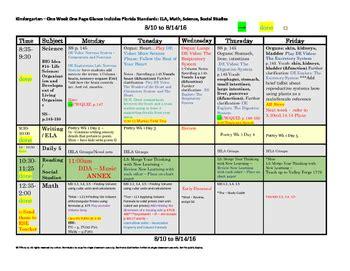 kindergarten florida standards weekly lesson plan template 671 | original 2640550 1