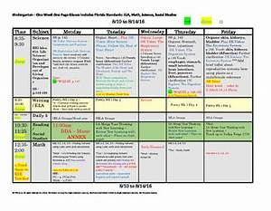 kindergarten florida standards weekly lesson plan template With week at a glance lesson plan template