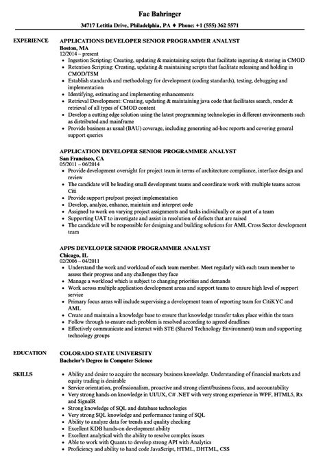 Programmer Resume Exle by Resume Exles Programmer Analyst Programmer Analyst