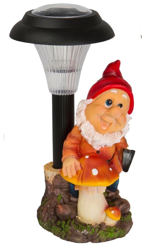 solar powered outdoor led garden gnome ornament decoration
