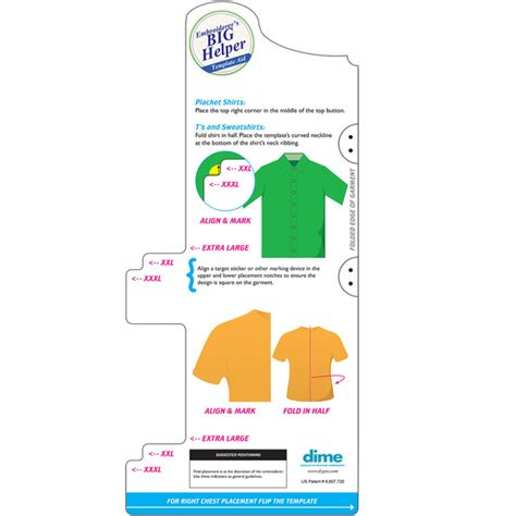 embroider polo shirt template dime eh0004 embroiderers big helper placement template aid