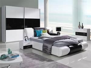 Komplett schlafzimmer kansas hochglanz schwarz weiss for Schwarz weiß schlafzimmer