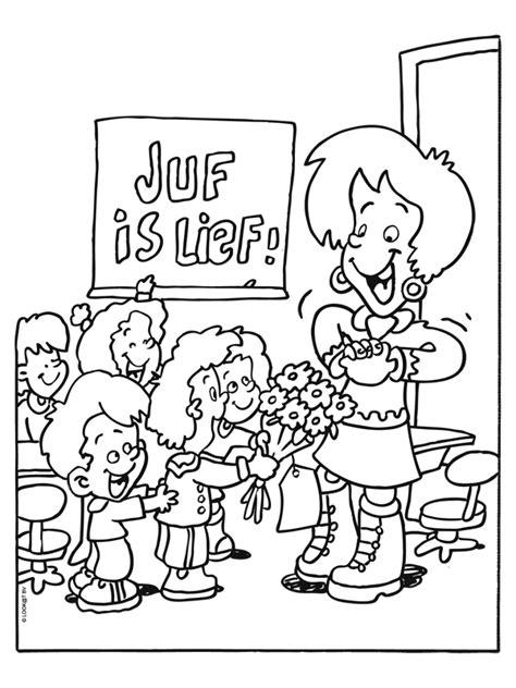 Kleurplaat Ik Ga Naar De Basisschool by Kleurplaat Juffrouw Op School Is Lief Kleurplaten Nl