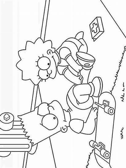 Simpsons Coloring Pages Printable Lisa Nurse Cartoons